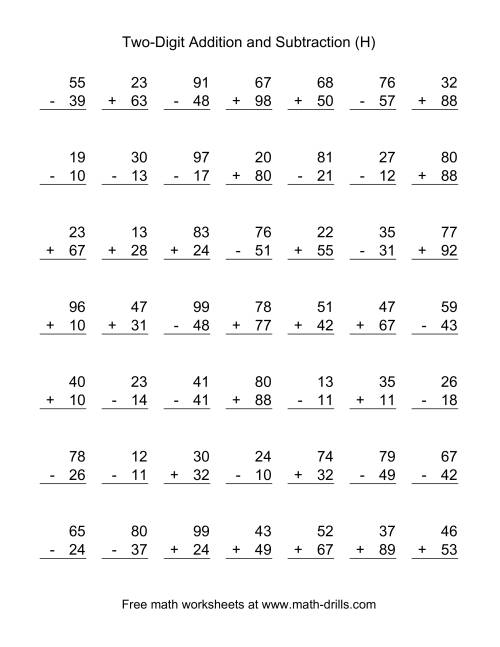 The Two-Digit (H) Combined Addition and Subtraction Worksheet