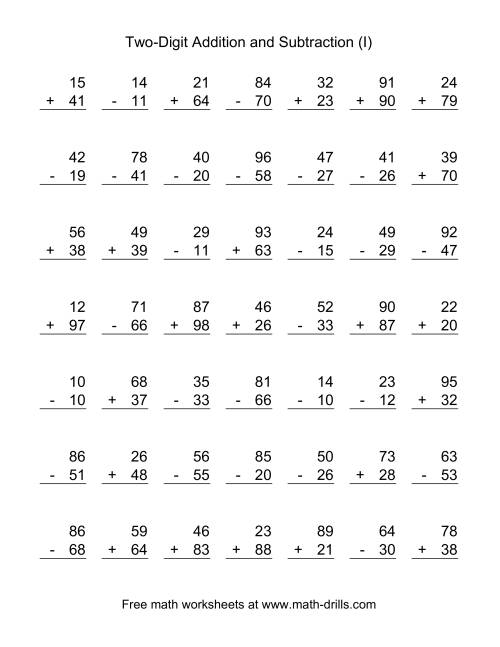 The Two-Digit (I) Combined Addition and Subtraction Worksheet