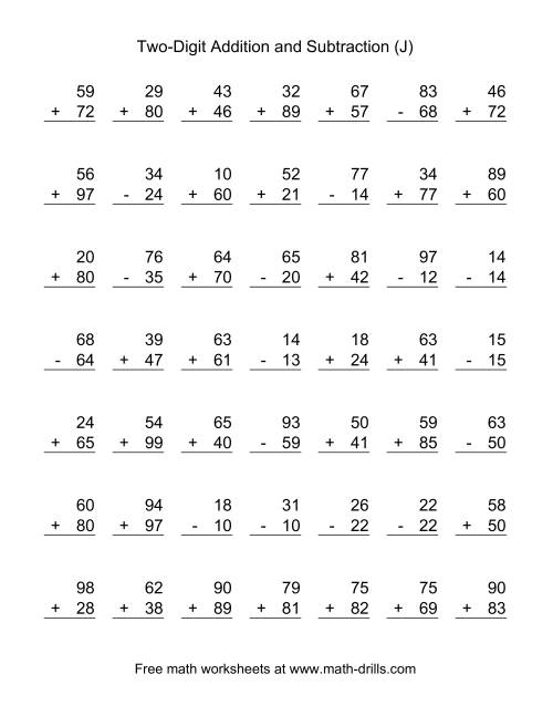 The Two-Digit (J) Combined Addition and Subtraction Worksheet