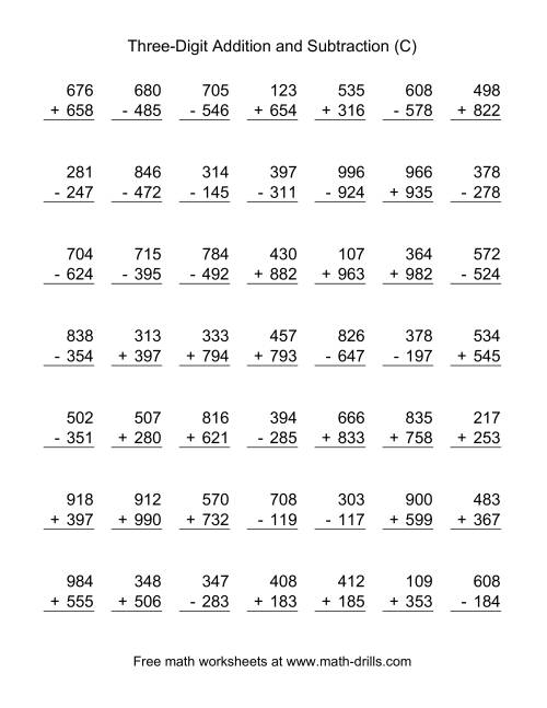 The Three-Digit (C) Combined Addition and Subtraction Worksheet