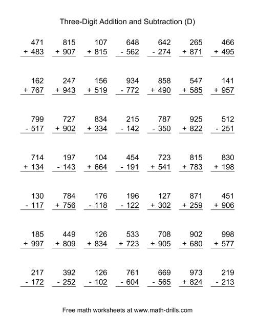 The Three-Digit (D) Combined Addition and Subtraction Worksheet