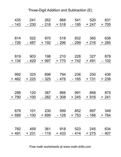 The Three-Digit (E) Combined Addition and Subtraction Worksheet