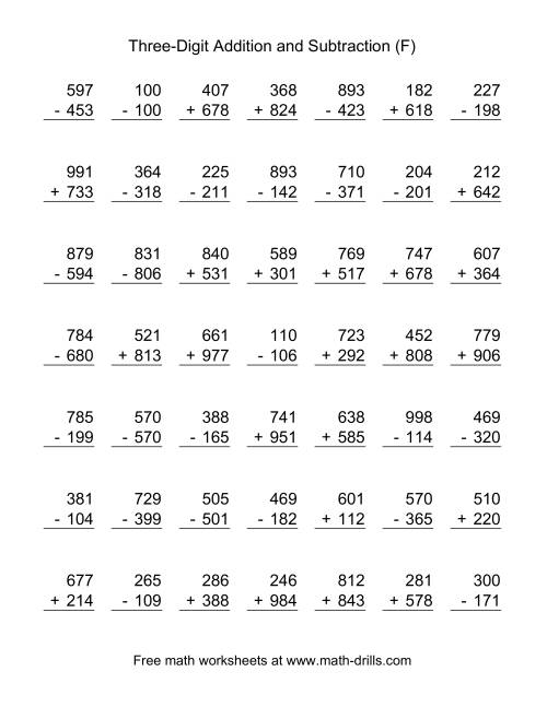 The Three-Digit (F) Combined Addition and Subtraction Worksheet