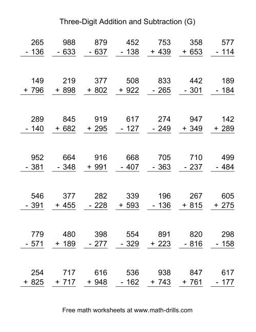The Three-Digit (G) Combined Addition and Subtraction Worksheet
