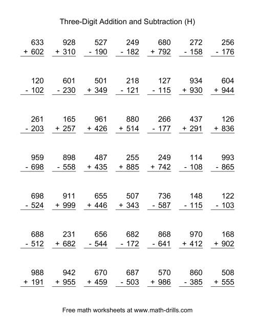 The Three-Digit (H) Combined Addition and Subtraction Worksheet