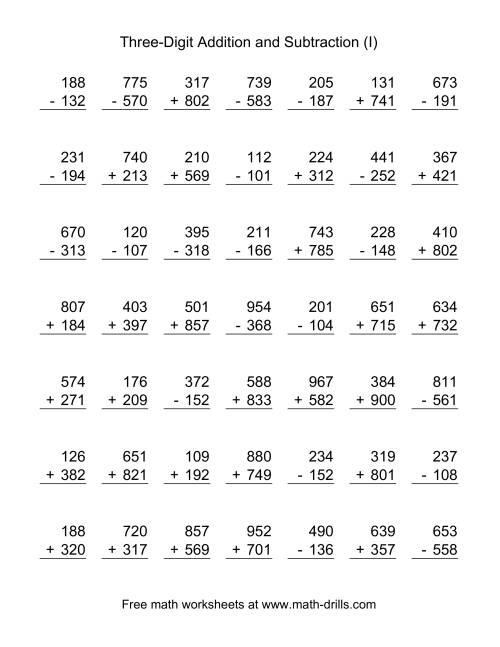 The Three-Digit (I) Combined Addition and Subtraction Worksheet