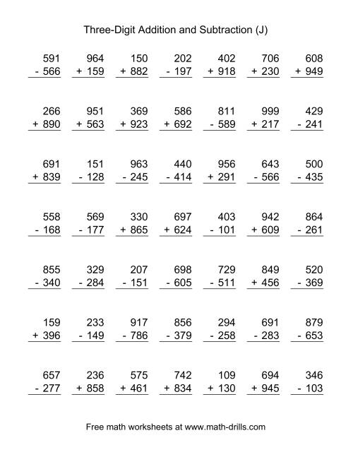 The Three-Digit (J) Combined Addition and Subtraction Worksheet
