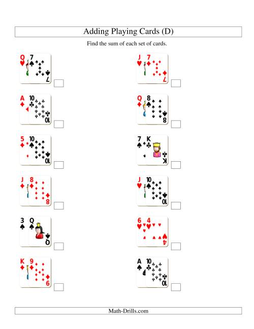 The Adding 2 Playing Cards (D) Addition Worksheet