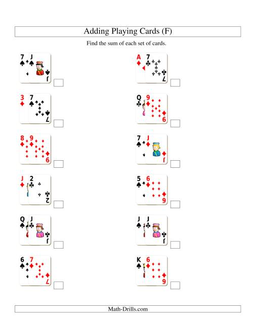 The Adding 2 Playing Cards (F) Addition Worksheet