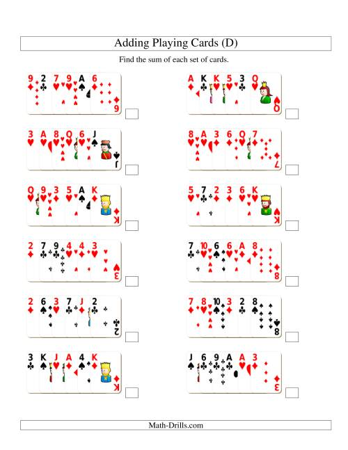 The Adding 6 Playing Cards (D) Addition Worksheet