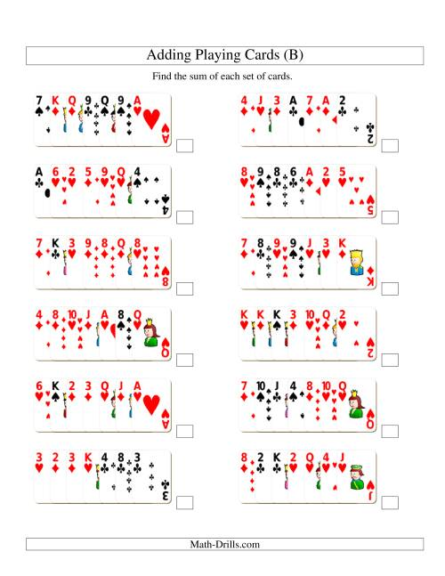 The Adding 7 Playing Cards (B) Addition Worksheet