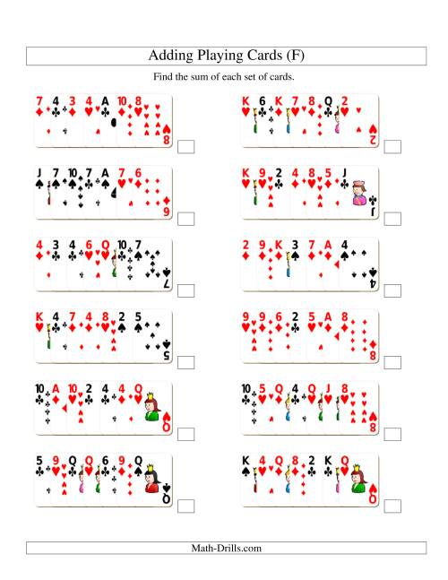 The Adding 7 Playing Cards (F) Addition Worksheet