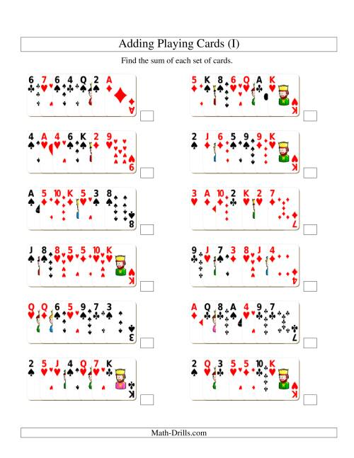 The Adding 7 Playing Cards (I) Addition Worksheet