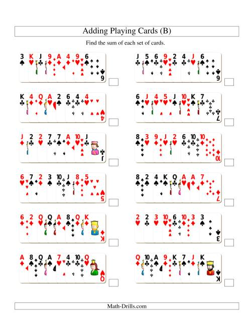 The Adding 8 Playing Cards (B) Addition Worksheet