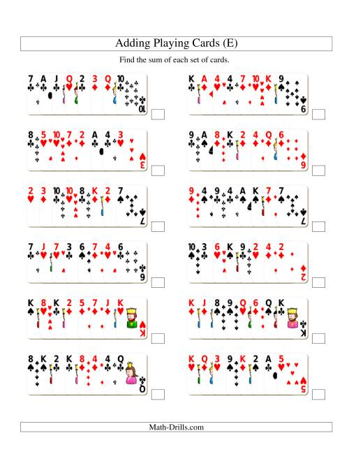 The Adding 8 Playing Cards (E) Addition Worksheet