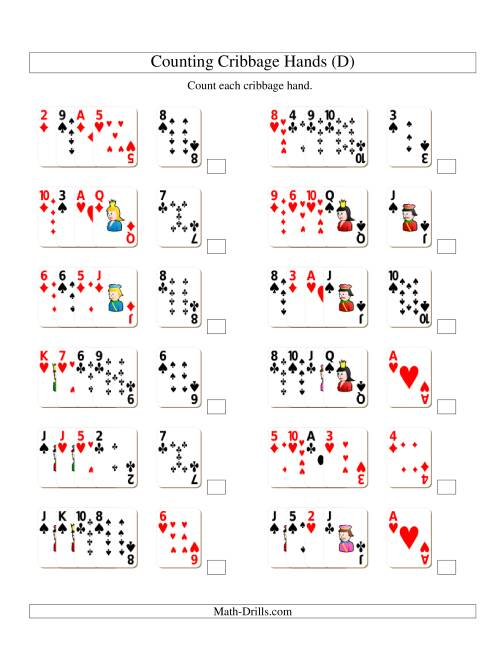 The Adding Cribbage Hands (D) Addition Worksheet