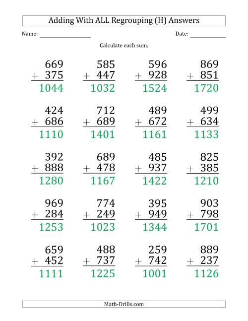 The Large Print 3-Digit Plus 3-Digit Addtion with ALL Regrouping (H) Math Worksheet Page 2