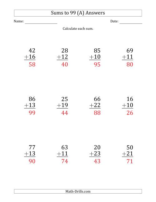 The Large Print - Adding 2-Digit Numbers with Sums up to 99 (12 Questions) (A) Math Worksheet Page 2