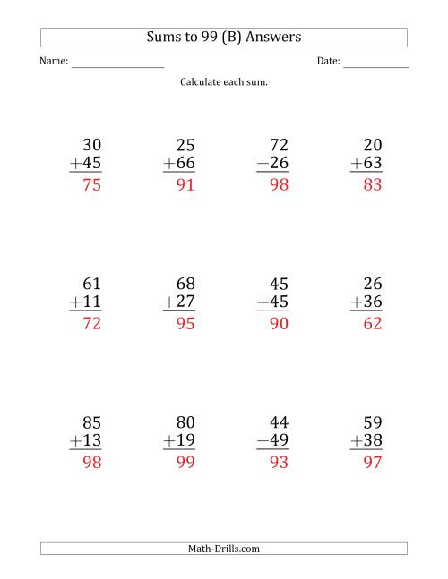 The Large Print - Adding 2-Digit Numbers with Sums up to 99 (12 Questions) (B) Math Worksheet Page 2