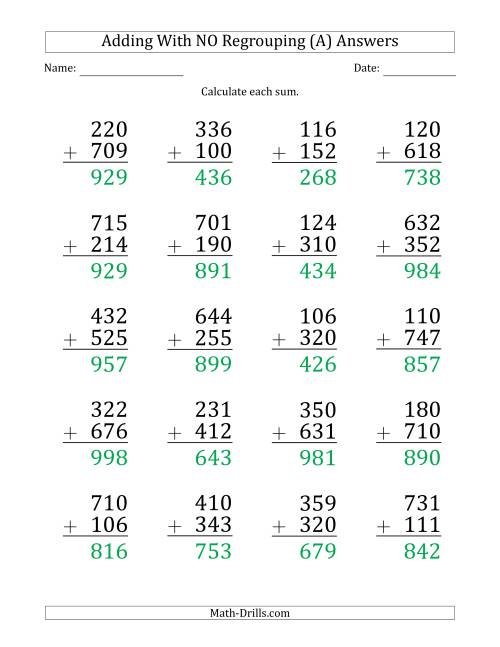 The Large Print 3-Digit Plus 3-Digit Addition with NO Regrouping (A) Math Worksheet Page 2