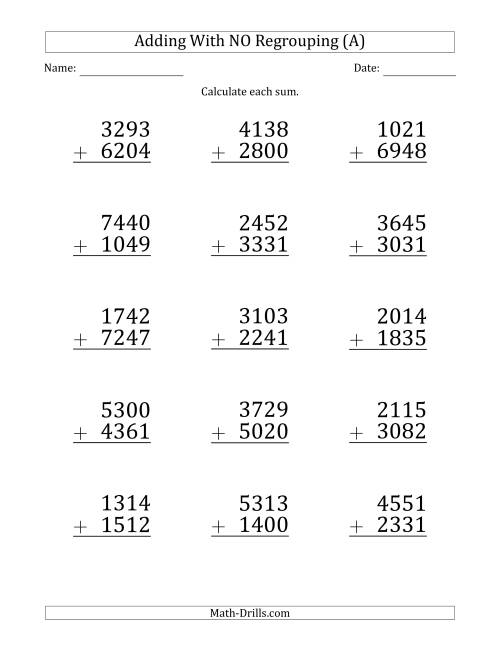 The Large Print 4-Digit Plus 4-Digit Addition with NO Regrouping (A) Math Worksheet