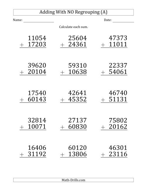 The Large Print 5-Digit Plus 5-Digit Addition with NO Regrouping (A) Math Worksheet