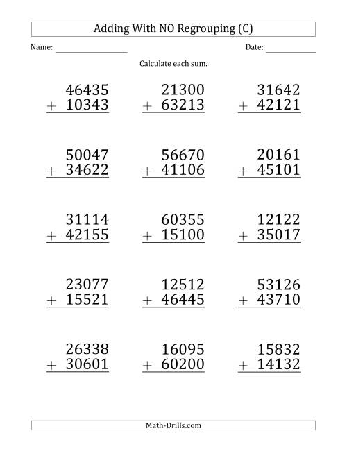 The Large Print 5-Digit Plus 5-Digit Addition with NO Regrouping (C) Math Worksheet