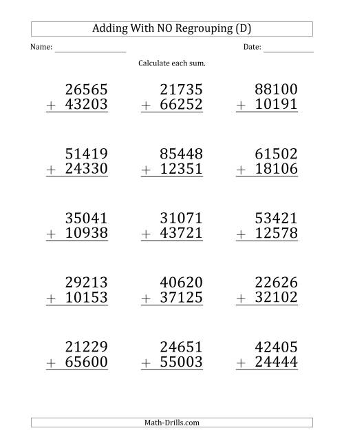 The Large Print 5-Digit Plus 5-Digit Addition with NO Regrouping (D) Math Worksheet