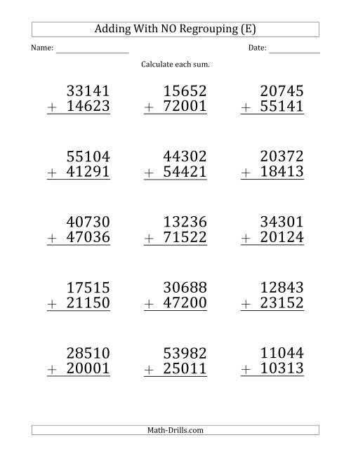 The Large Print 5-Digit Plus 5-Digit Addition with NO Regrouping (E) Math Worksheet