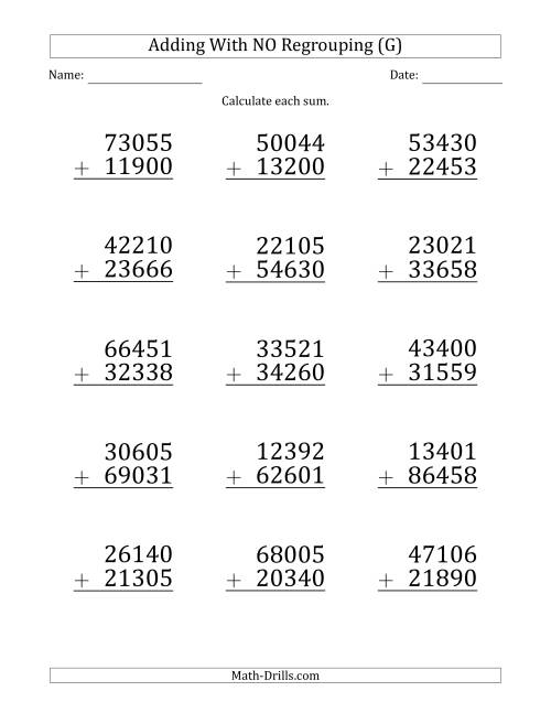 The Large Print 5-Digit Plus 5-Digit Addition with NO Regrouping (G) Math Worksheet