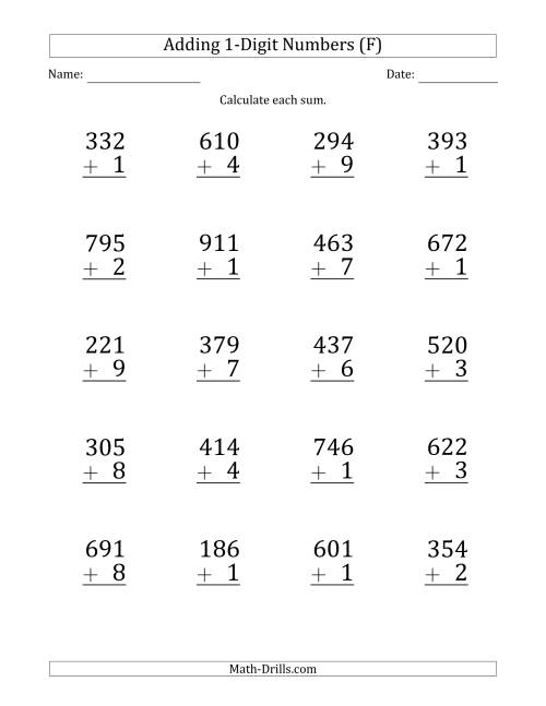 The Large Print 3-Digit Plus 1-Digit Addition with SOME Regrouping (F) Math Worksheet