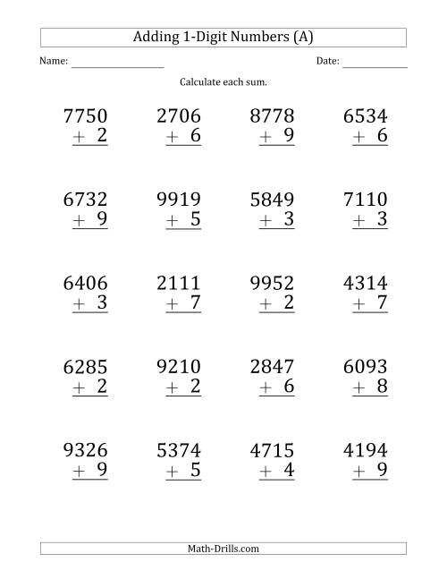 The Large Print 4-Digit Plus 1-Digit Addition with SOME Regrouping (A) Math Worksheet