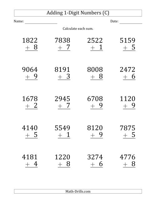 The Large Print 4-Digit Plus 1-Digit Addition with SOME Regrouping (C) Math Worksheet