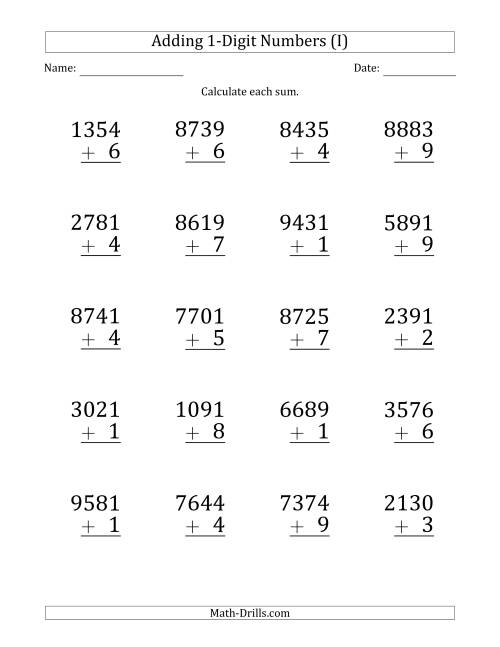 The Large Print 4-Digit Plus 1-Digit Addition with SOME Regrouping (I) Math Worksheet