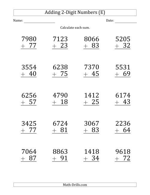 The Large Print 4-Digit Plus 2-Digit Addition with SOME Regrouping (E) Math Worksheet
