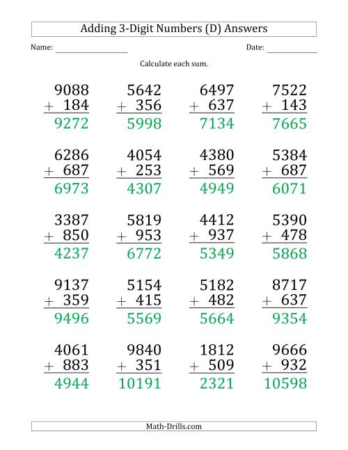 Large Print 4-Digit Plus 3-Digit Addition with SOME ...