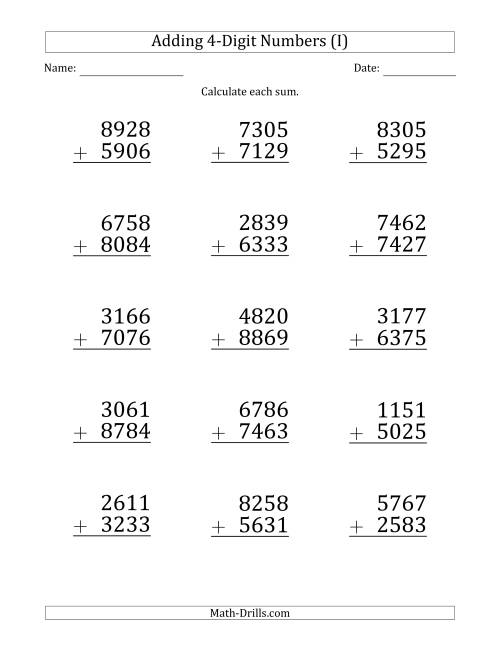 The Large Print 4-Digit Plus 4-Digit Addition with SOME Regrouping (I) Math Worksheet