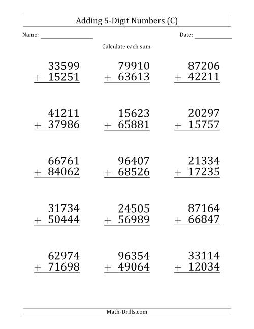 The Large Print 5-Digit Plus 5-Digit Addition with SOME Regrouping (C) Math Worksheet
