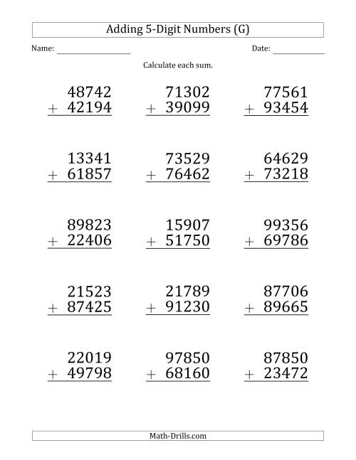 The Large Print 5-Digit Plus 5-Digit Addition with SOME Regrouping (G) Math Worksheet