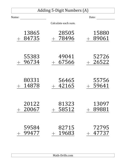 The Large Print 5-Digit Plus 5-Digit Addition with SOME Regrouping (All) Math Worksheet