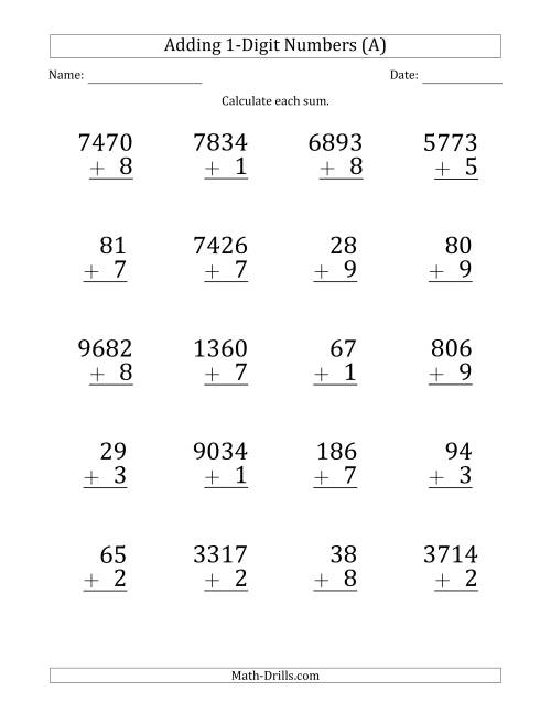 The Large Print Various-Digit Plus 1-Digit Addition with SOME Regrouping (All) Math Worksheet