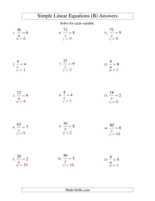 The Solving Linear Equations -- Form a/x = c (B) Math Worksheet Page 2