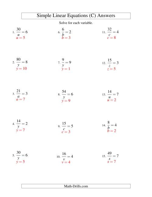 The Solving Linear Equations -- Form a/x = c (C) Math Worksheet Page 2