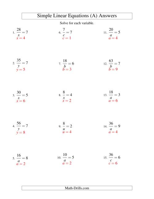 The Solving Linear Equations -- Form a/x = c (All) Math Worksheet Page 2