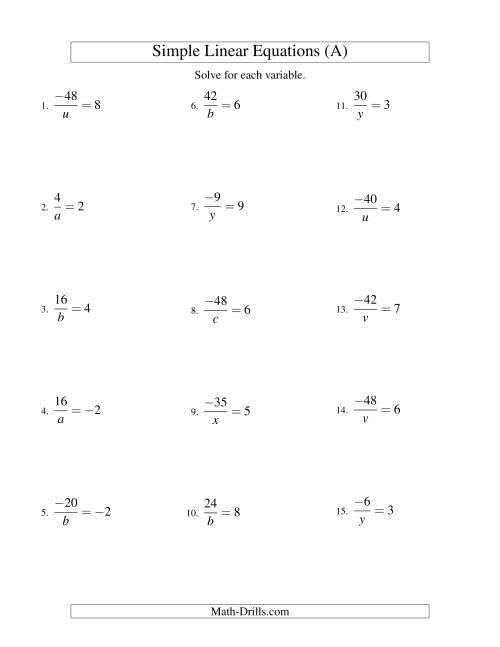 The Solving Linear Equations (Including Negative Values) -- Form a/x = c (A) Algebra Worksheet