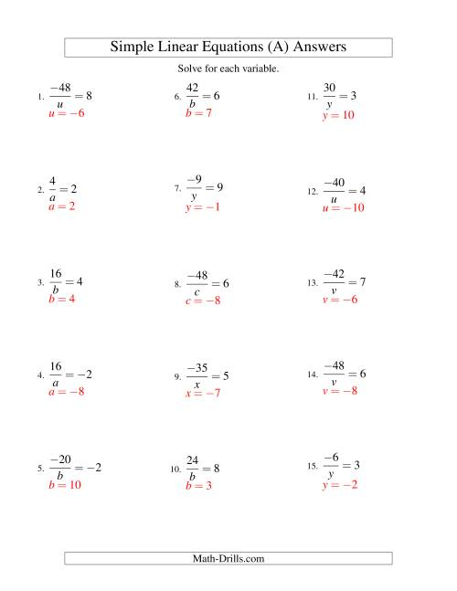 The Solving Linear Equations (Including Negative Values) -- Form a/x = c (A) Math Worksheet Page 2
