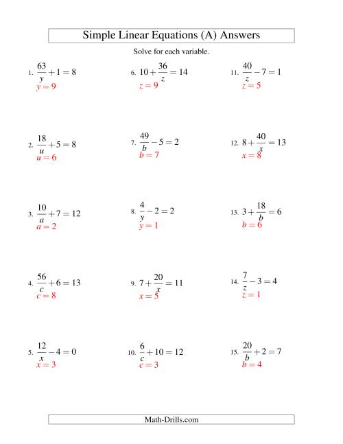 The Solving Linear Equations -- Form a/x ± b = c (A) Math Worksheet Page 2