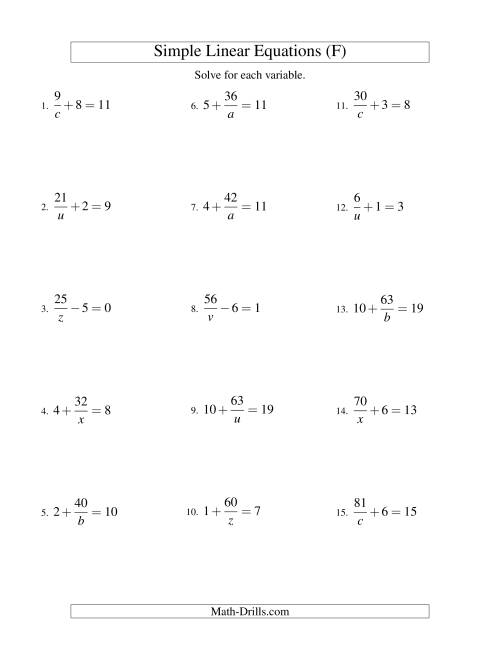 The Solving Linear Equations -- Form a/x ± b = c (F) Math Worksheet