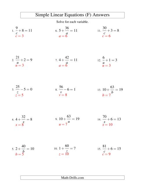 The Solving Linear Equations -- Form a/x ± b = c (F) Math Worksheet Page 2
