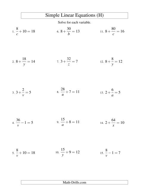 The Solving Linear Equations -- Form a/x ± b = c (H) Math Worksheet